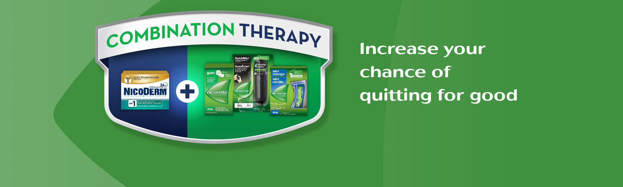 Combination therapy by Nicorette and NicoDerm