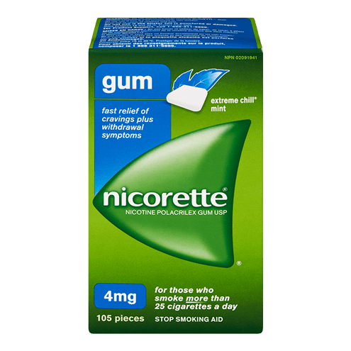 Nicorette Extreme Chill Mint Flavoured Gum 4 mg packaging