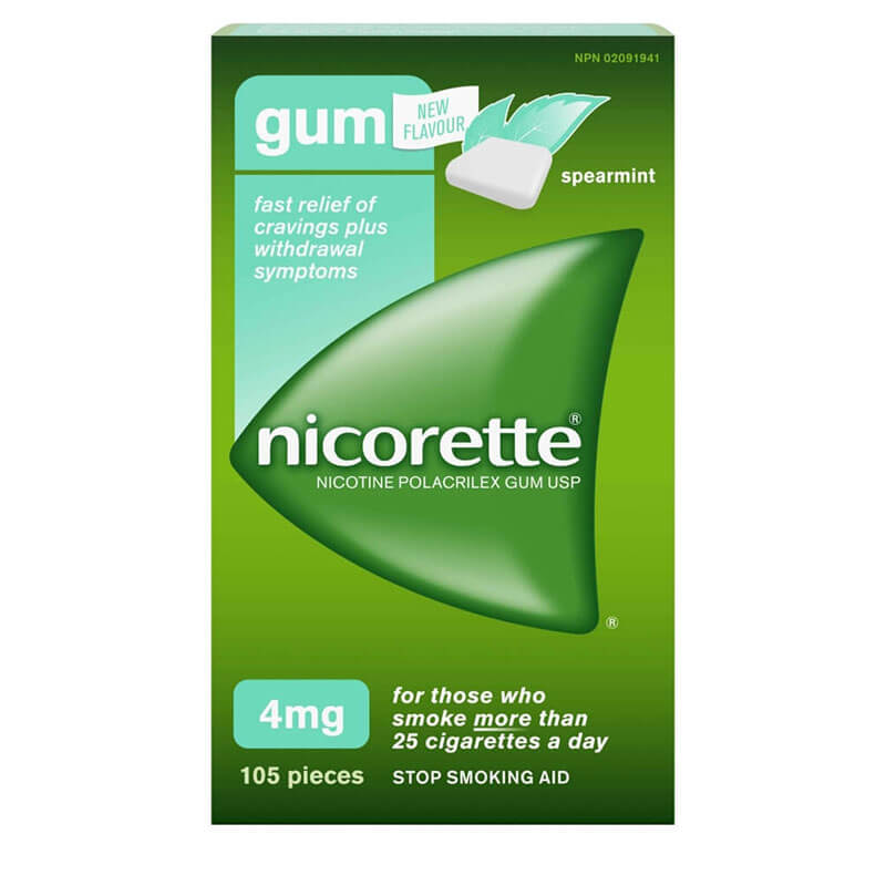 Nicorette Spearmint Flavoured Gum 4 mg packaging
