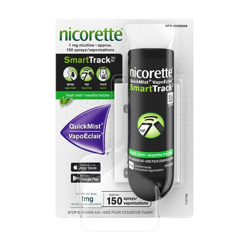 Nicorette QuickMist SmartTrack Nicotine Mouth Spray package, 150 sprays
