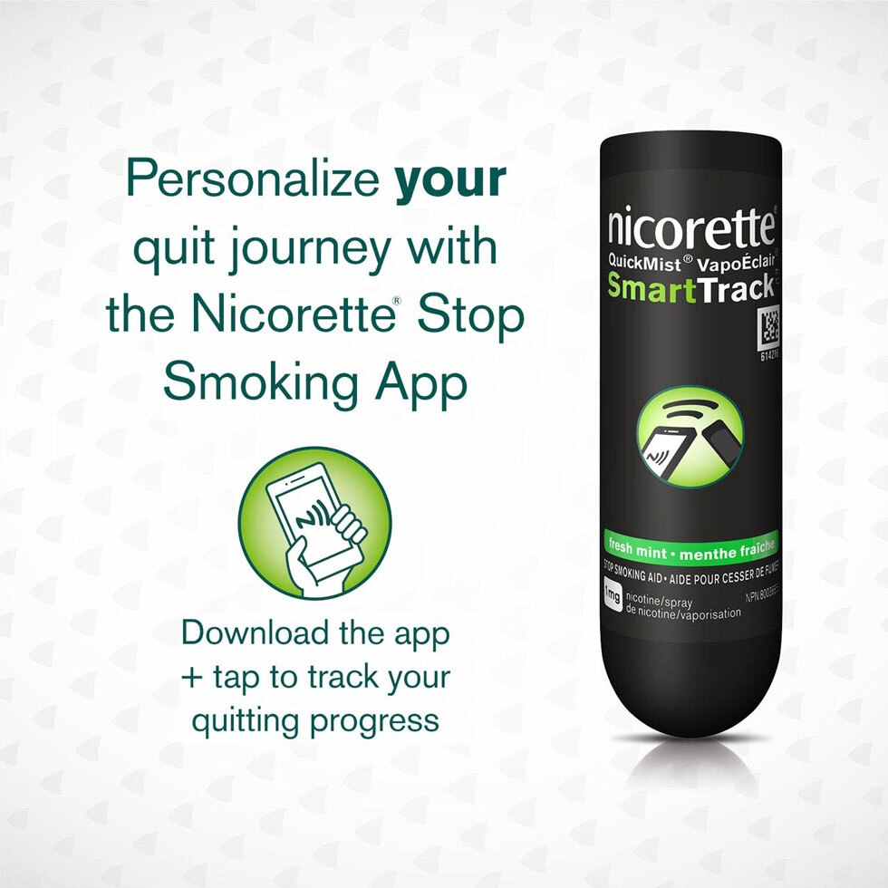 Nicorette QuickMist Nicotine Mouth Spray with instructions to download the SmartTrack app on the phone