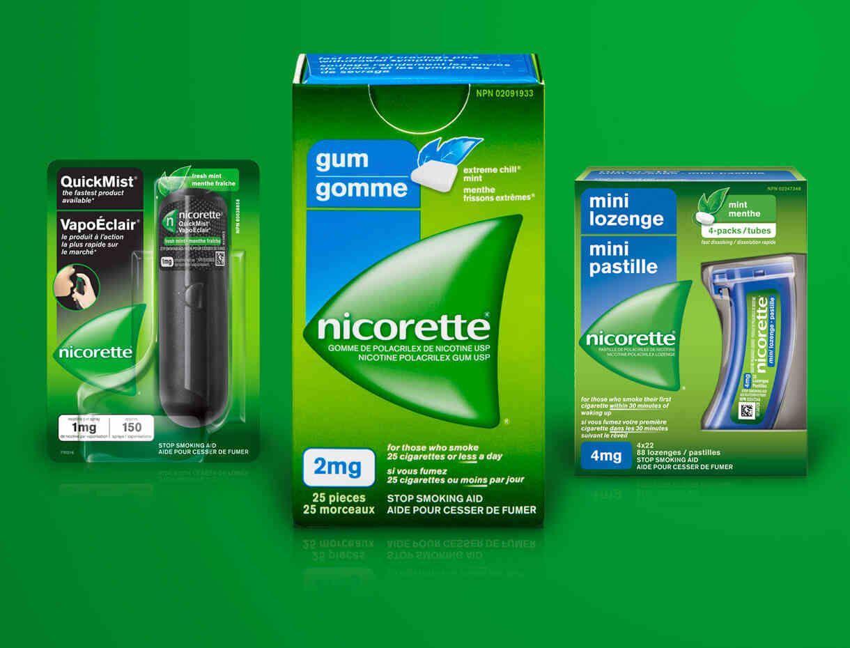 Nicorette Fresh Mint QuickMist, Extreme Chill Mint Gum, and Mini Mint Lozenges