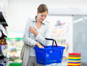 Woman shopping in the grocery